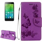 For Vibe C2 Purple Butterflies Leather Case with Holder, Card Slots & Wallet