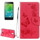 For Vibe C2 Red Butterflies Leather Case with Holder, Card Slots & Wallet