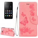 For Lenovo A2020 Pink Butterflies Leather Case with Holder, Card Slots & Wallet