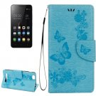 For Lenovo A2020 Blue Butterflies Leather Case with Holder, Card Slots & Wallet