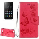 For Lenovo A2020 Red Butterflies Leather Case with Holder, Card Slots & Wallet