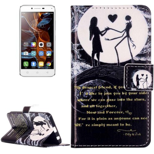 For Vibe K5 Couple Pattern Leather Case with Holder, Card Slots & Wallet