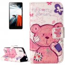 For Lenovo A6000 Bear Pattern Leather Case with Holder, Card Slots & Wallet
