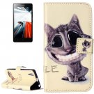 For Lenovo A6000 Smiling Pattern Leather Case with Holder, Card Slots & Wallet