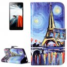 For Lenovo A6000 Canvas Pattern Leather Case with Holder, Card Slots & Wallet