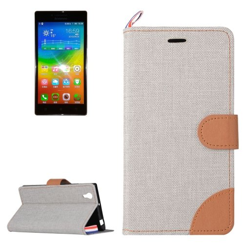 For Lenovo P70 Grey Denim Texture Leather Case with Holder & Card Slots