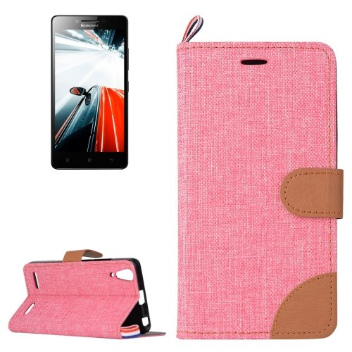 For Lenovo A6000 Pink Denim Texture Leather Case with Holder & Card Slots