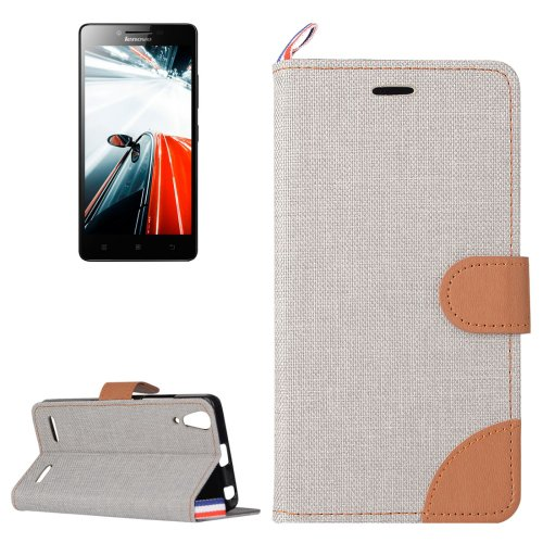 For Lenovo A6000 Grey Denim Texture Leather Case with Holder & Card Slots