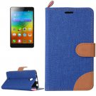 For Lenovo A5000 Dark Blue Denim Texture Leather Case with Holder & Card Slots