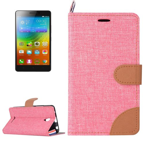 For Lenovo A5000 Pink Denim Texture Leather Case with Holder & Card Slots