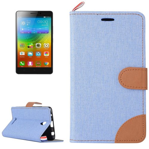 For Lenovo A5000 Blue Denim Texture Leather Case with Holder & Card Slots