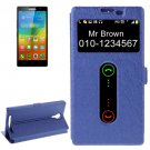 For Lenovo K80 Dark Blue Cross Leather Case with Caller ID Display & Holder
