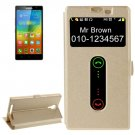 For Lenovo K80 Gold Cross Leather Case with Caller ID Display & Holder