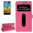 For Lenovo K80 Magenta Cross Leather Case with Caller ID Display & Holder