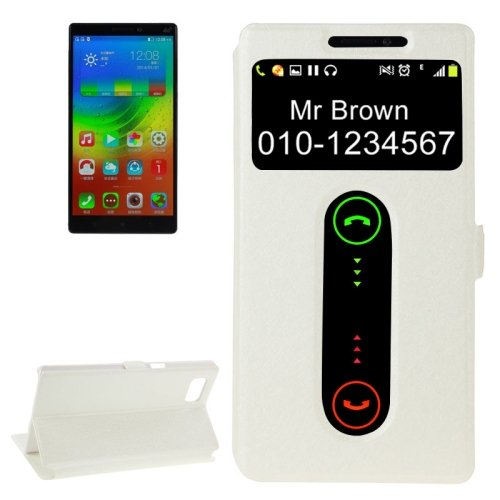 For Vibe Z2 Pro White Cross Leather Case with Caller ID Display & Holder