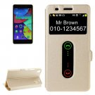 For Lenovo K3 Note Gold Flip Leather Case with Caller ID Display & Holder