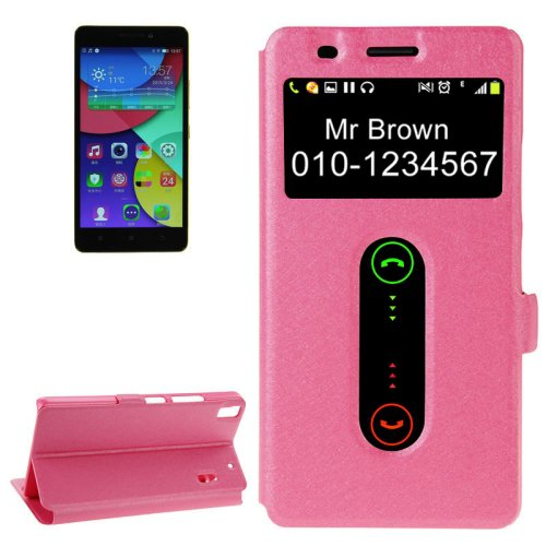 For Lenovo K3 Note Magenta Flip Leather Case with Caller ID Display & Holder