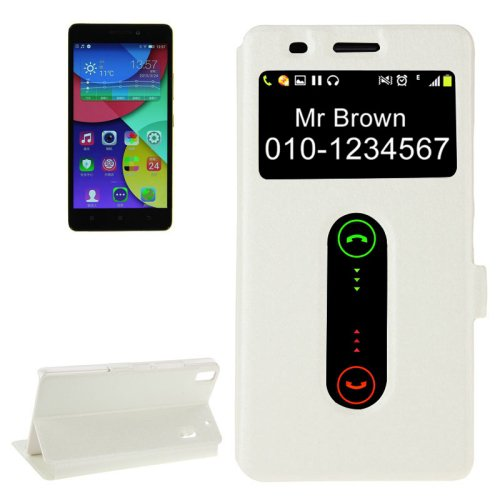 For Lenovo K3 Note White Flip Leather Case with Caller ID Display & Holder