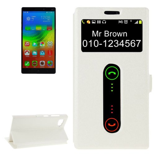 For Lenovo Vibe Z2 White Flip Leather Case with Caller ID Display & Holder