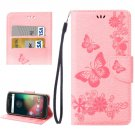 For Moto G 4 Gen Pink butterfly Leather Case with Holder, Card Slots & Wallet