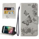 For Moto G 4 Gen Grey butterfly Leather Case with Holder, Card Slots & Wallet