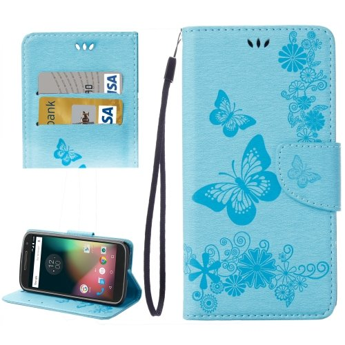 For Moto G 4 Gen Blue butterfly Leather Case with Holder, Card Slots & Wallet