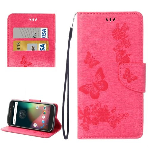 For Moto G 4 Gen Magenta butterfly Leather Case with Holder, Card Slots & Wallet