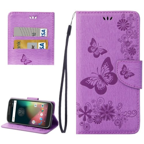 For Moto G 4 Gen Purple butterfly Leather Case with Holder, Card Slots & Wallet