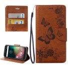 For Moto G 4 Gen Brown butterfly Leather Case with Holder, Card Slots & Wallet