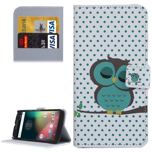 For Moto G 4 Gen Owl Pattern  Leather Case with Holder, Card Slots & Wallet