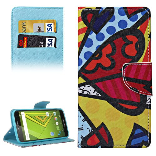 For Moto X Style Splice Pattern Leather Case with Holder, Card Slots & Wallet