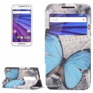 For Moto G 3 Gen Butterfly Pattern Leater Case with Holder & Caller ID Display