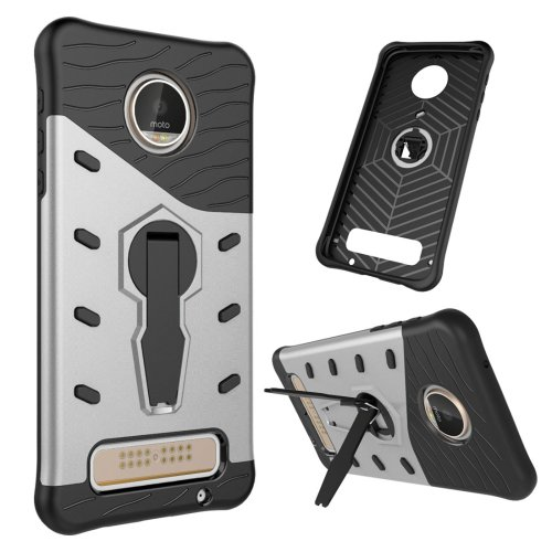 For Moto Z Silver Spin Tough Armor TPU + PC Rotating Case with Holder