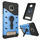 For Moto Z Play Blue Spin Tough Armor TPU + PC Rotating Case with Holder
