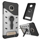 For Moto Z Play Silver Spin Tough Armor TPU + PC Rotating Case with Holder