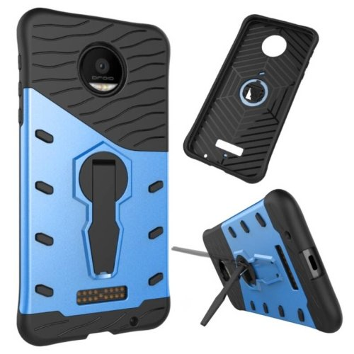 For Moto Z Force Blue Spin Tough Armor TPU + PC Rotating Case with Holder