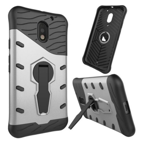 For Moto E  3 Gen Silver Spin Tough Armor TPU + PC Rotating Case with Holder
