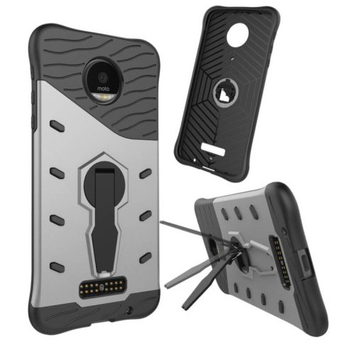 For Moto Z Droid Silver Spin Tough Armor TPU + PC Rotating Case with Holder