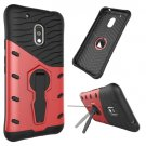 For Moto G4 Play Red Spin Tough Armor TPU + PC Rotating Case with Holder