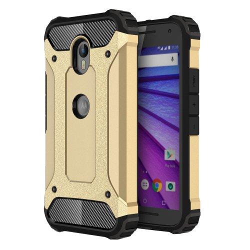 For Moto G (3rd gen) Gold Tough Armor TPU + PC Combination Case
