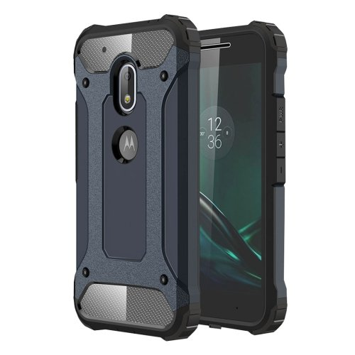 For Moto G4 Play Dark Blue Tough Armor TPU + PC Combination Case
