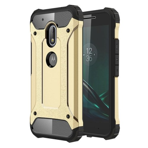 For Moto G4 Play Gold Tough Armor TPU + PC Combination Case