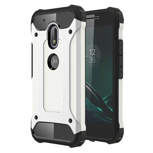 For Moto G4 Play White Tough Armor TPU + PC Combination Case