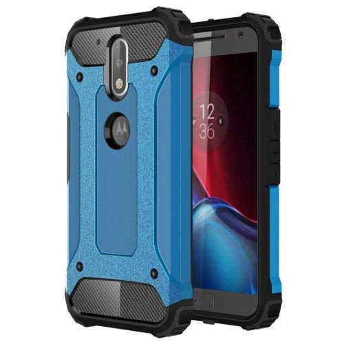 For Moto G/G Plus (4rd gen) Blue Tough Armor TPU + PC Combination Case