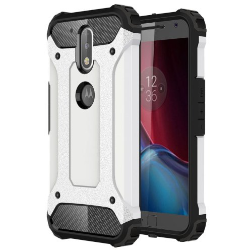 For Moto G/G Plus (4rd gen) White Tough Armor TPU + PC Combination Case