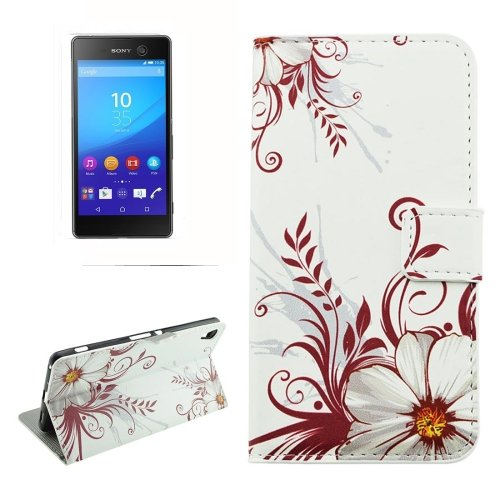 For Sony Xperia C6 Buds Pattern Leather Case with Holder, Card Slots & Wallet