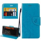 For Xperia XZ Blue Butterfly Leather Case with Holder, Card Slots & Wallet