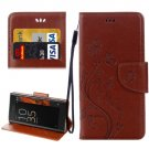 For Xperia XZ Brown Butterfly Leather Case with Holder, Card Slots & Wallet