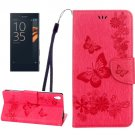 For Xperia XA Magenta Butterfly Leather Case with Holder, Card Slots & Wallet