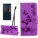 For Xperia XA Purple Butterfly Leather Case with Holder, Card Slots & Wallet